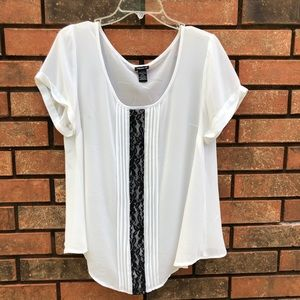 TORRID Size 0 White Sheer Top w/Black Lacy. EUC.